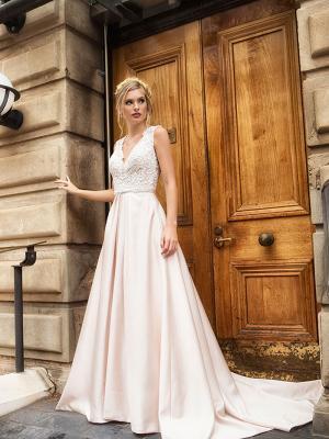DOVE 2 lace bodice v neck wedding dress with satin skirt wedding dress Luv Bridal Australia