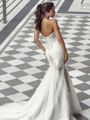 DUSK 1 lace up back strapless mermaid wedding sress with silver beading Luv Bridal Australia