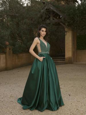 E726 JORDAN SATIN BALLGOWN SKIRT BEADED BODICE PLUNGING NECKLINE LOW BACK FLOOR LENGTH FORMAL GOWN