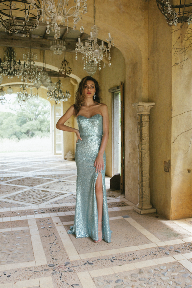 JACQUI FULL SEQUIN LOW BACK STRAPLESS FULL LENGTH FITTED FORMAL GOWN WITH SPLIT 3