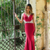 JASMINE RED OPEN BACK DIAMANTE FRINGE BEADING EMBELLISHED CREPE FITTED PLUNGE FRON FORMAL GOWN