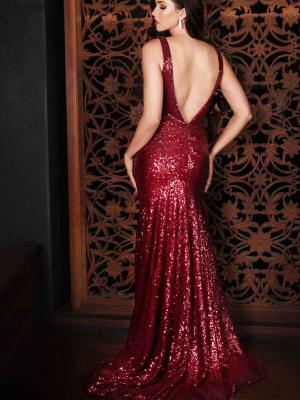 Luv bridal formal collection sequin red formal dress mermaid train low back