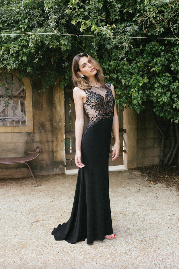 JOLIE STRETCH JERSEY FITTED SKIRT SHEER LACE BODICE FULL LENGTH FORMAL GOWN 1