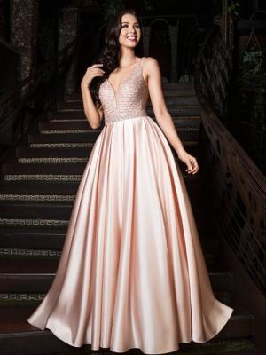 JORDAN silky satin skirt low cut back ballgown formal dress
