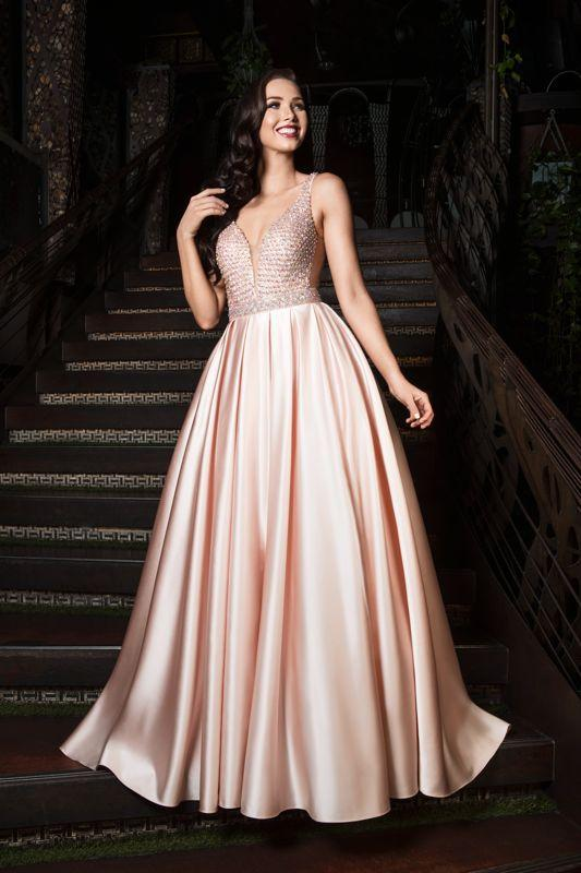JORDAN silky satin skirt low cut back ballgown formal dress