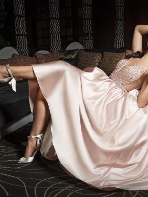 JORDAN 2 silky satin skirt low cut back ballgown formal dress