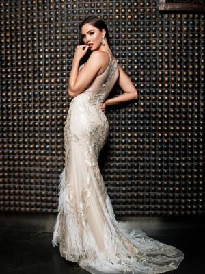 JULIETTE ostrich feather sheer illusion back halter neck formal dress Luv Bridal Australia