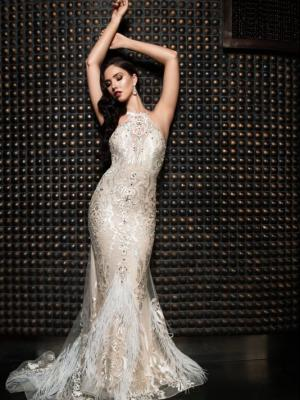 JULIETTE sheer illusion back halter neck formal dress Luv Bridal Australia