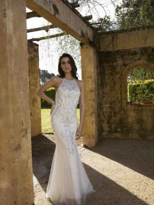 JUPITER E713 LOW CROSS BACK EMBELLISHED BEADED SATIN TULLE FULL LENGTH FORMAL GOWN