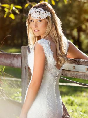 LAKEN L1031z full lace v neck low illusion back wedding dress Luv Bridal Brisbane Australia