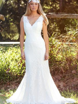 LAKEN L1031z v neck fitted lace low back wedding dress Luv Bridal Gold Coast Australia