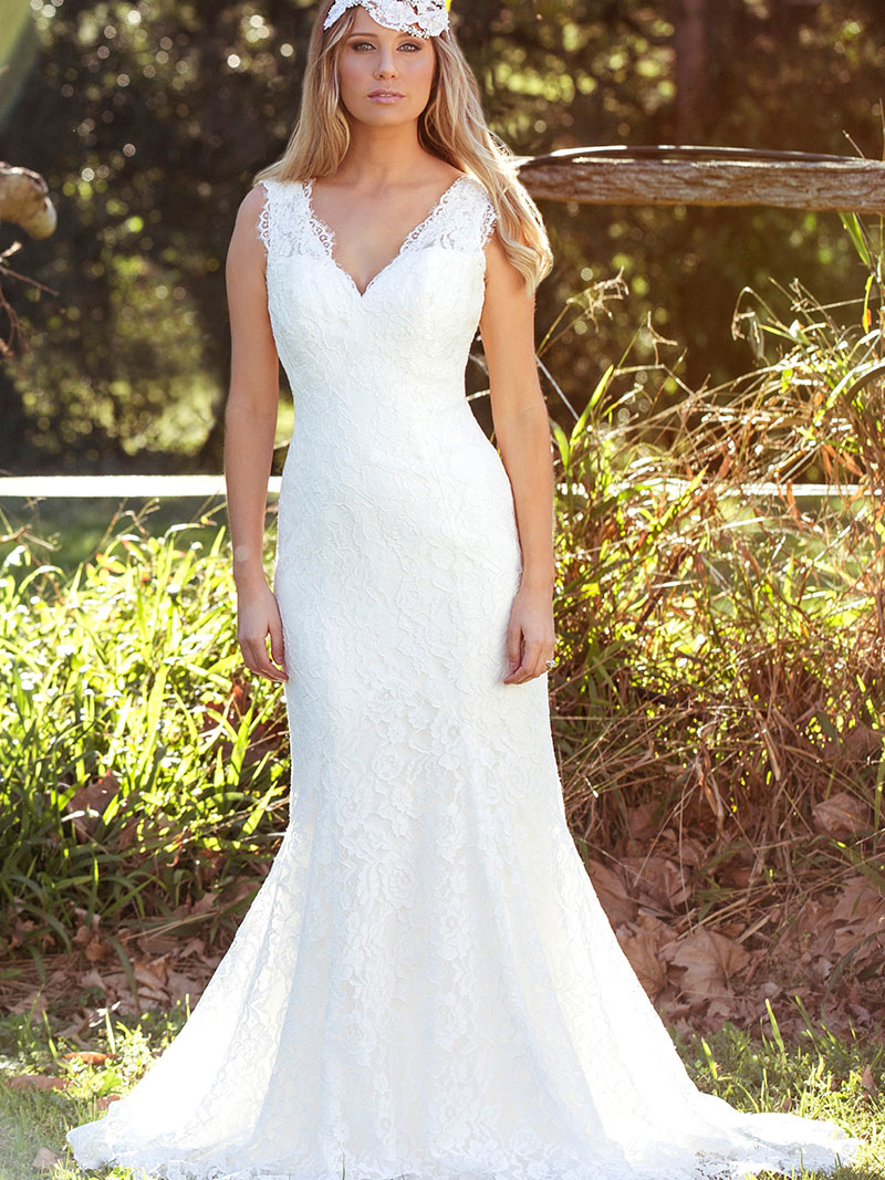 4dd3cf2a34b LAKEN L1031z v neck fitted lace low back wedding dress Luv Bridal Gold  Coast Australia