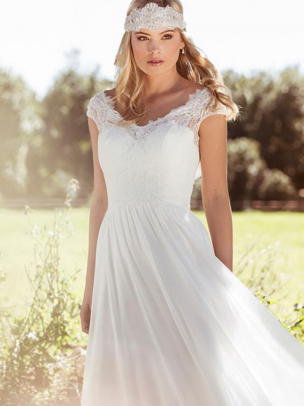 LAYLA L1028z lace and chiffon relaxed wedding dress Luv Bridal Sydney Australia