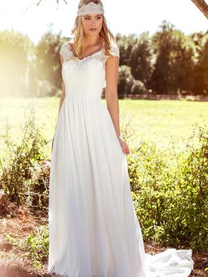 LAYLA L1028z scoop neck lace bodice chiffon wedding dress Luv Bridal Perth Australia