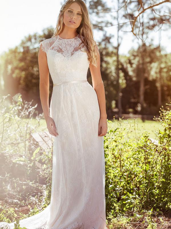 LEAH L1034z high neck cap sleeve sheer lace wedding dress Luv Bridal Sunshine Coast Australia