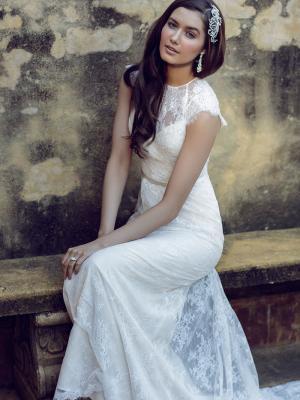 Leah wedding dress luv bridal formal leah l1034z lace cap sleeve high neck wedding dress luv bridal sydney australia junglespirit Choice Image