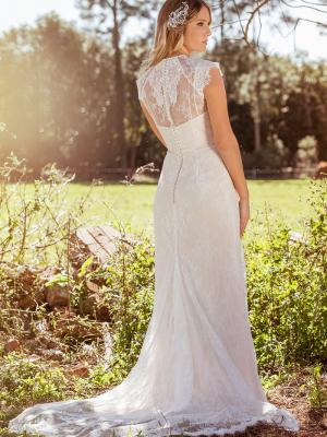 LEAH L1034z sheer lace low illusion back straight wedding dress Luv Bridal Brisbane Australia