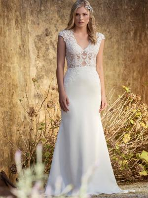 LEXIE L1030z sheer embellished lace and silky satin wedding dress Luv Bridal Sydney Australia