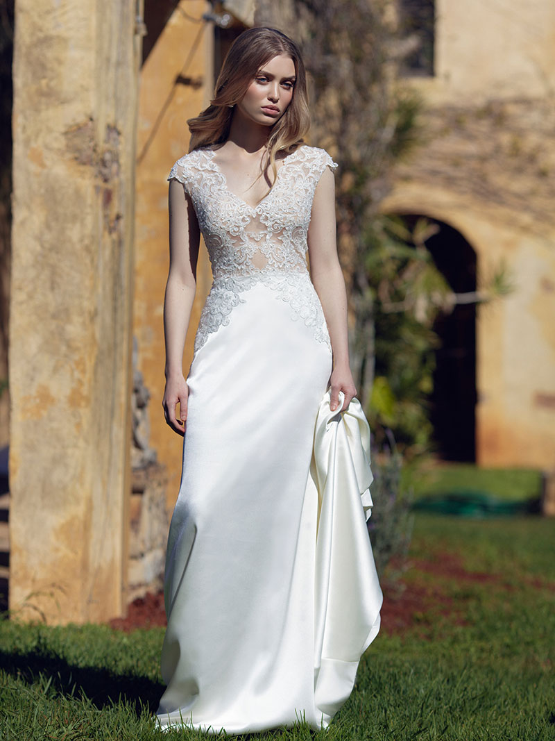Lexie wedding dress luv bridal formal lexie l1030z sheer lace silky satin skirt wedding dress luv bridal perth australia ombrellifo Choice Image