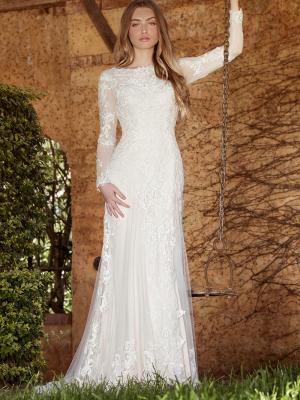 LIZBETH L1035z long sleeve illusion sheer button back wedding dress Luv Bridal Perth Australia