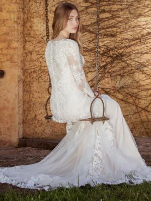 LIZBETH L1035z sheer illusion button back long sleeve lace wedding dress Luv Bridal Brisbane Australia