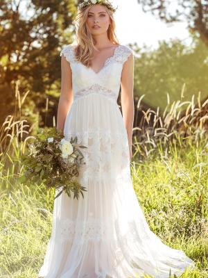 LUCINDA L1037z lace pannelled sheer v neck wedding dress Luv Bridal Gold Coast Australia