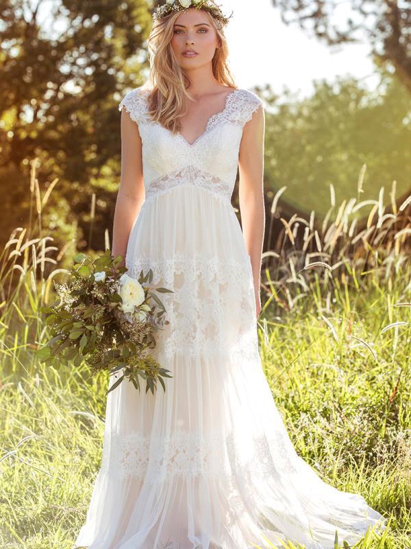 LUCINDA L1037z lace pannelled sheer v neck wedding dress Luv Bridal Gold Coast Australia