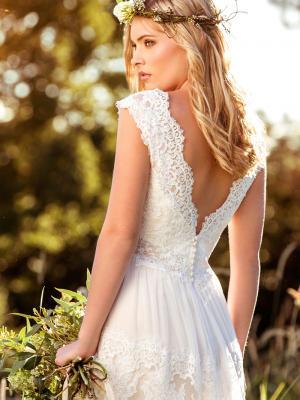 LUCINDA L1037z low v back scalloped lace wedding dress Luv Bridal Adelaide Australia