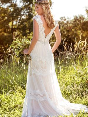 LUCINDA L1037z sheer scalloped lace low v back wedding dress Sydney Luv Bridal Australia
