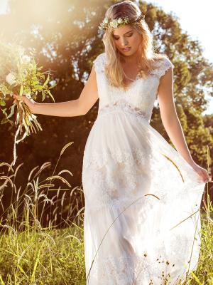 LUCINDA L1037z v neck pannelled sheer lace wedding dress Luv Bridal Brisbane Australia