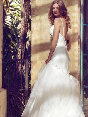 BRYLEE M1513Z_Front very low back shoes string strap mermaid wedding dress Luv Bridal Gold Coast Australia Luv Bridal