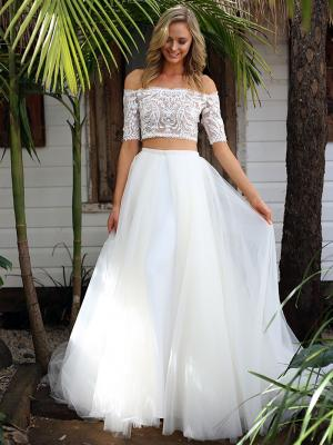 SAGE 1 two piece off the shoulder wedding dress with tulle overskirt Madi Lane Luv Bridal Gold Coast Australia