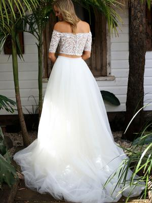 SAGE 2 two piece sheer lace button back off the shoulder wedding dress Madi Lane Luv Bridal Adelaide Australia