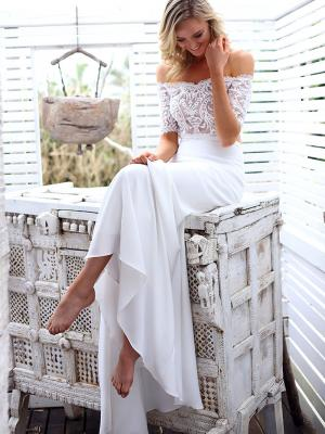 SAGE 3 two piece wedding dress with crepe skirt and sheer lace top Madi Lane Luv Bridal Gold Coast Australia
