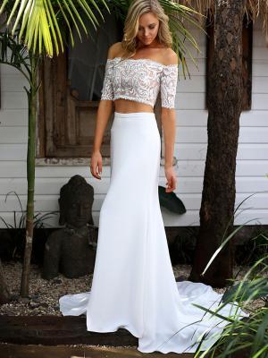 SAGE 4 off the shoulder crepe and lace two piece wedding dress Madi Lane Luv Bridal Gold Coast Australia