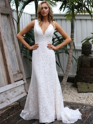 SAMI 1 v neck full lace wedding dress Madi Lane Luv Bridal Sydney Australia