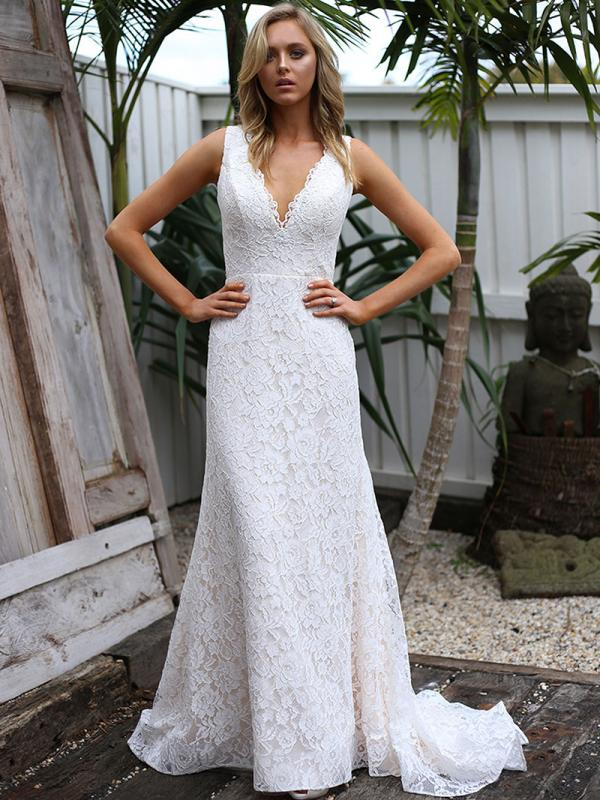SAMI 1 v neck full lace wedding dress Madi Lane Luv Bridal Sydney Australia