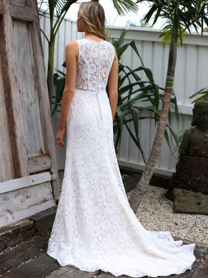 SAMI 2 sheer button back full lace wedding dress Madi Lane Luv Bridal Brisbane Australia