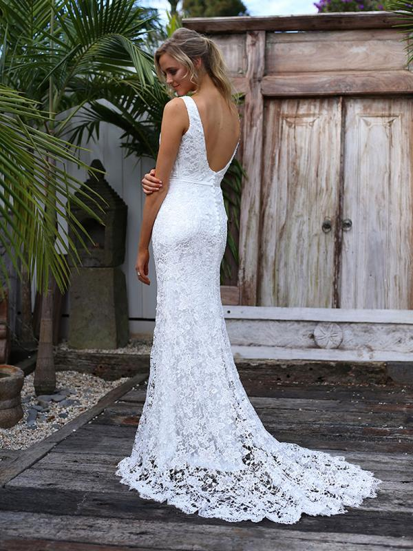 SARA 1 scoop back low back full lace wedding dress Madi Lane Luv Bridal Sydney Australia