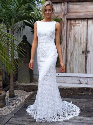 SARA 2 full lace high neck fitted wedding dress Madi Lane Luv Bridal Sydney Australia