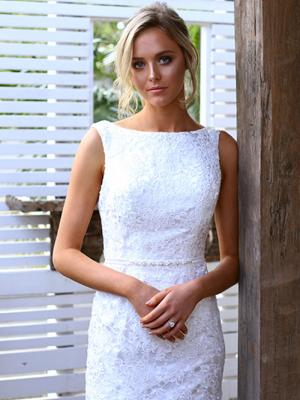 SARA 3 high boat neck fitted lace wedding dress Madi Lane Luv Bridal Perth Australia