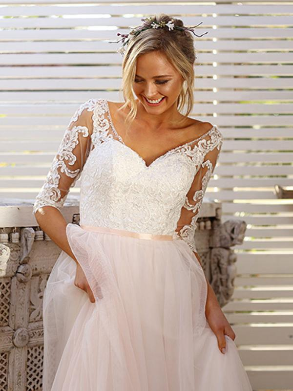 SCARLET 1 long sleeve sheer lace and tulle skirt ball gown Madi Lane Luv Bridal Brisbane Australia