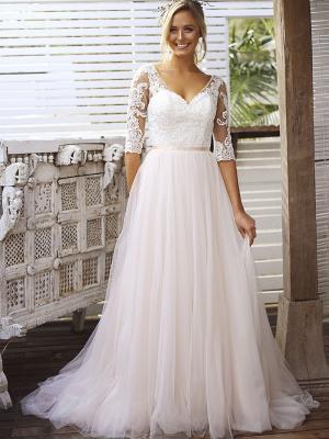 SCARLETT 2 long sleeve sheer lace tulle skirt wedding dress Madi Lane Luv Bridal Gold Coast Australia
