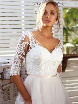 SCARLETT 3 long sheer sleeve lace bodice wedding dress with tulle skirt Madi Lane Luv Bridal Brisbane Australia