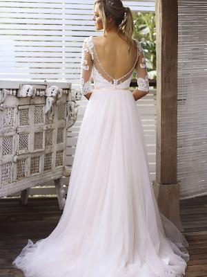 SCARLETT 4 low scoop illusion back wedding dress with tulle skirt Madi Lane Luv Bridal Gold Coast Australia