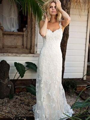 SHANTELLE 1 beaded lace motif thin strap fitted wedding dress Madi Lane Luv Bridal Gold Coast Australia