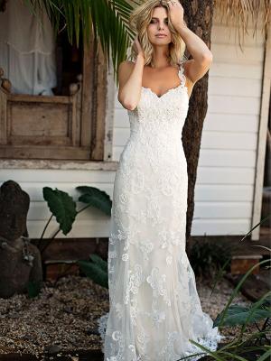 SHANTELLE 1 beaded lace motif thin strap fitted wedding dress Madi Lane Luv Bridal Gold Coast Australia