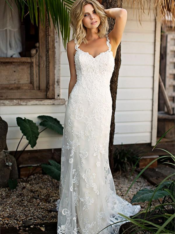 SHANTELLE 2 fitted beaded lace low back wedding dress Madi Lane Luv Bridal Perth Australia