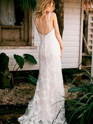 SHANTELLE 3 low back fitted wedding dress with shoestring straps Madi Lane Luv Bridal Australia
