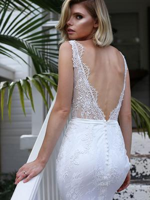 SHARNE 1 sheer bodice v neck fitted lace wedding dress Madi Lane Luv Bridal Gold Coast Australia